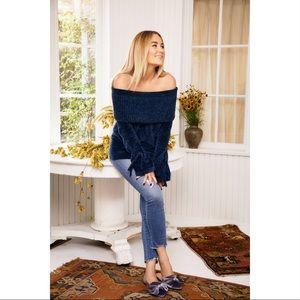 LC Lauren Conrad dress off shoulder Chenille plush